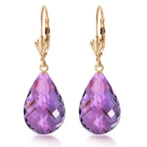 GOLD LEVERBACK EARRING WITH BRIOLETTE AMETHYSTS